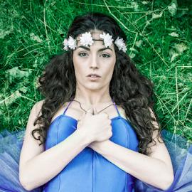 Queen of the Fairies by Antony Sendall - People Portraits of Women ( curly, lying, black hair, purple tutu, dairy, ballerina, hair )