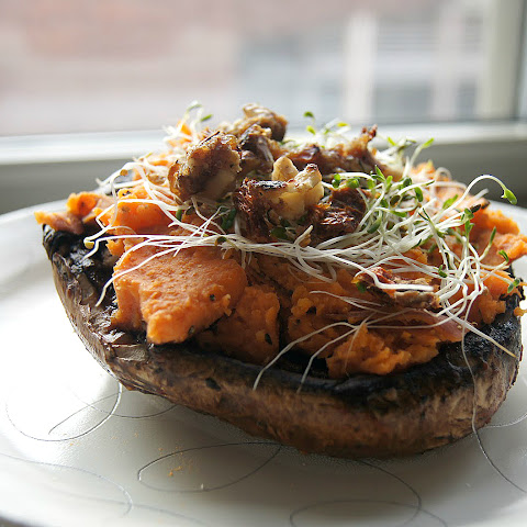 "Roasted Portobello Mushrooms with Sweet Potato & ""Caramelized"" Walnuts"