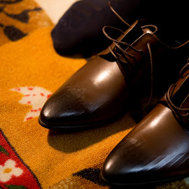 A pair of Groom's shoes  by Faisal Enam - Wedding Details ( pair, wedding, brown shoes, shoe, groom )