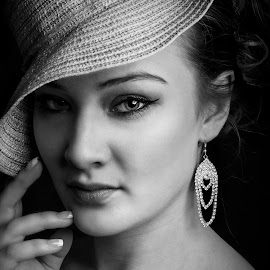 Style by Carel Van Vuuren - People Portraits of Women ( face, fashion, balck and white, lady, portrait, earrings, eyes, hat )