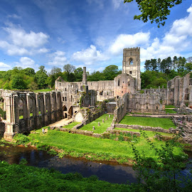 fountains abbey, ripon, north yorkshire by Keith's Captures - Buildings & Architecture Public & Historical ( clouds, mm, lawn, church, grass, fountains, 10-20, wide, north, angle, dslr, cistercian, religion, field, sky, sigma, yorkshire, monasteries, monastery, trees, nikon, ripon, abbey )