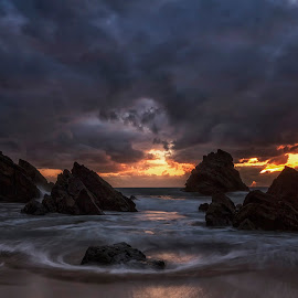 Sunset  by Maria Alexandra Abrunhosa - Landscapes Sunsets & Sunrises ( sunset, adraga, sintra, beach, portugal )