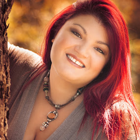 Sweet Autumn by Sabrina Campagna - People Portraits of Women ( donna, 70-300, mountain, warm, wood, beauty, make-up, bokeh, girl, autumn, sigma, woman, sorriso, ritratto, nikon, smile, montagna, colors, beautiful, portrait, curvy, d810, ragazza, autunno, fall, hot, bosco, necklace )