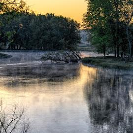 Sunrise on river by Calvin Morgan - Landscapes Sunsets & Sunrises ( muskegon, fog, outdoors, sunrise, landscape, nikon d7000, photography, river )