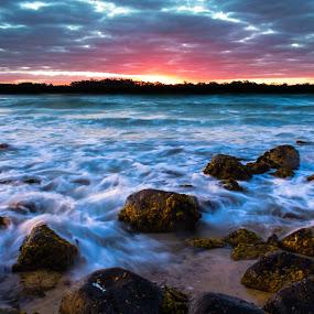 Experiment by Ty Hanson - Landscapes Sunsets & Sunrises ( sunset, waves, beach, rocks, island )