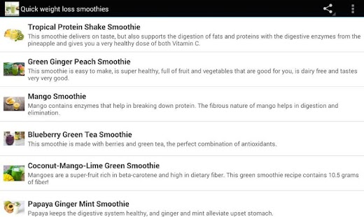 Quick weight loss smoothies - screenshot