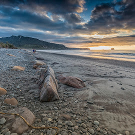 Rapahoe Bay by Ian Pinn - Landscapes Beaches ( sand, new, sunset, tide, zealand, beach, rocks, coast )