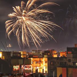 Celebration by Annesha Dasgupta - City,  Street & Park  Skylines ( kolkata, light, flat, canon eos, buildings, fire, crackers, fireworks, canon, diwali )