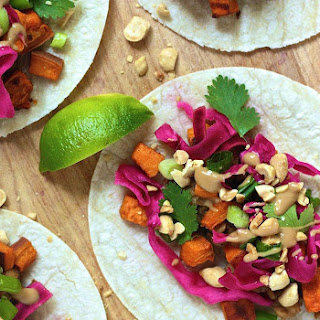 Thai Tempeh Tacos with Sweet Potatoes and Pickled Cabbage