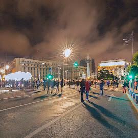 Bucuresti night by Carla Coanda - City,  Street & Park  Night ( urban, bucharest, street, show, spotlights, night, town, urban landscape, spotlight )