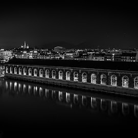Geneva Lights by Carlos Kiroga - Black & White Buildings & Architecture ( mirror, urban exploration, shadow, light, city, urban landscapes, cityscape, black and white, bridge )