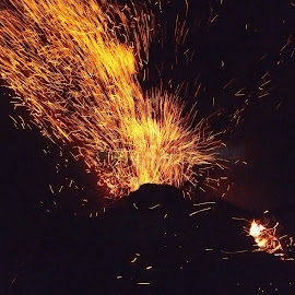 Volcano fireworks by Mladjan Pajkic - Instagram & Mobile Android ( sparkle, sparks, at work, fire, mobile photos, volcano, fireworks )