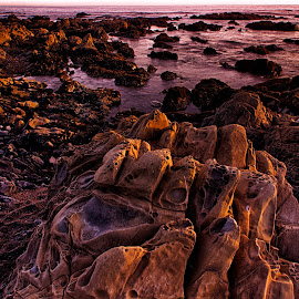 Catching Sunset at Moonstone Beach by Ken Latman - Landscapes Beaches ( sunset, formations, shoreline, rock, ocean, beach )