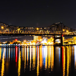 Peoria Illinois by Darrin Ralph - City,  Street & Park  Night ( reflection, night photography, night, bridge, river, nightscape )