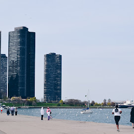 Chicago Coast by Valentina Cantera - City,  Street & Park  City Parks ( running, skyline, chicago, water, sea, building )