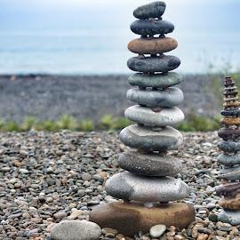 Rock of Ages by Chester Asehan - Nature Up Close Rock & Stone ( seashore, beautiful, pebbles, rock, beach, ocean view, bokeh )