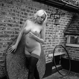 Penny by Paul Phull - Nudes & Boudoir Artistic Nude ( stockings, blonde, nude, black and white, outdoors, heels )
