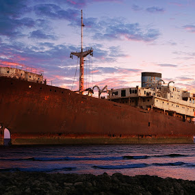 Wreck at Sunset by Martin Burnett - Transportation Boats ( shipwreck, sunset, lanzarote, spain )