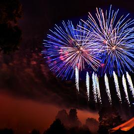 Blue Bursts by Derrill Grabenstein - Abstract Fire & Fireworks