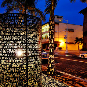 monument by Eliani Miranda - City,  Street & Park  Historic Districts ( sky, rounf, light, letters, black )