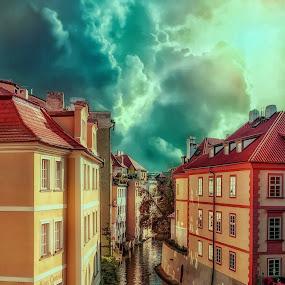 Prague by Gene Brumer - City,  Street & Park  Night ( clouds, water, sunset, buildings, chanal, sun )