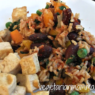 Tofu with Spanish Rice and Beans – #glutenfree #vegan
