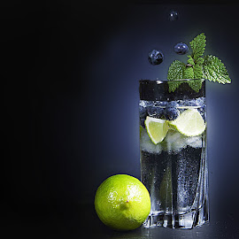 blueberries mochito by Rado Ratic - Food & Drink Alcohol & Drinks ( water, blueberries mochito, lemon )