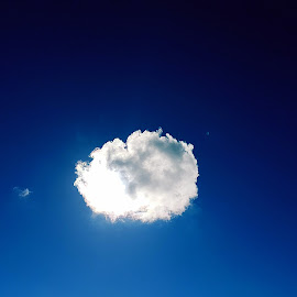 One lonely cloud by Hayley Moortele - Landscapes Cloud Formations ( #fluffy, #onewhitecloud, #contrast )