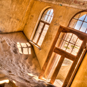 Kolmanskop by Fran Gallogly - Buildings & Architecture Architectural Detail ( sand, desert, german, ghost town, windows, yellow, shadows, deserted, pwclivingrooms-dq, walls, africa, sunlit, peeling, namibia )
