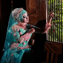 Thinking of you by Mardi Tri Junaedi - Wedding Bride ( #beauty, #traditional, #indonesia, #hijab,  )