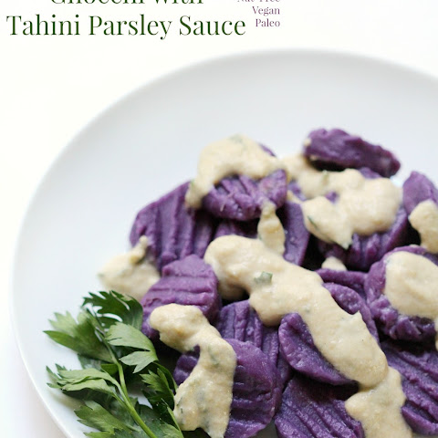Purple Sweet Potato Gnocchi with Tahini Parsley Sauce