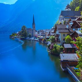 Hallstatt by Arif Sarıyıldız - City,  Street & Park  Vistas ( blue, lake hallstatt, long exposure, travel, hallstatt, austria, alps )