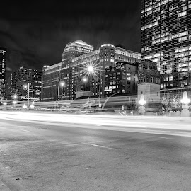 Drive by Ioannis Sotirakos - City,  Street & Park  Street Scenes ( lights, traffic, merchandise mart, black and white, buildings, long exposure, road, chicago, street lights, structures, city )