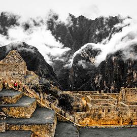 Machu Picchu by Todd Dubé - Buildings & Architecture Public & Historical ( clouds, orange, peru, latin america, cloudscape, travel, unesco, historic, landmark, mountains, south america, cloudy, cloud, machu picchu )