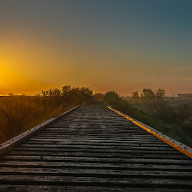 Spring Sunrise by Garnie Ross - Transportation Railway Tracks ( railway, color, ties, rail, bridge, sunrise, morning, spring )