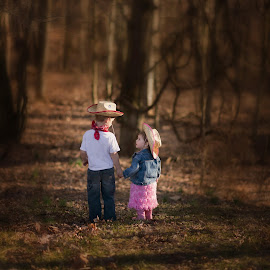I'll take care of you by K C - Babies & Children Child Portraits ( #children#hats#woods#holdinghands )