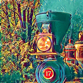No 17 by Roxanne Dean - Digital Art Things ( trail, train, tracks, woods, steam )