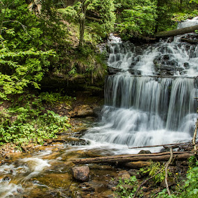 Wagner Falls by Christine Weaver-Cimala - Landscapes Waterscapes ( water, nature, munising, state park, wagner falls )