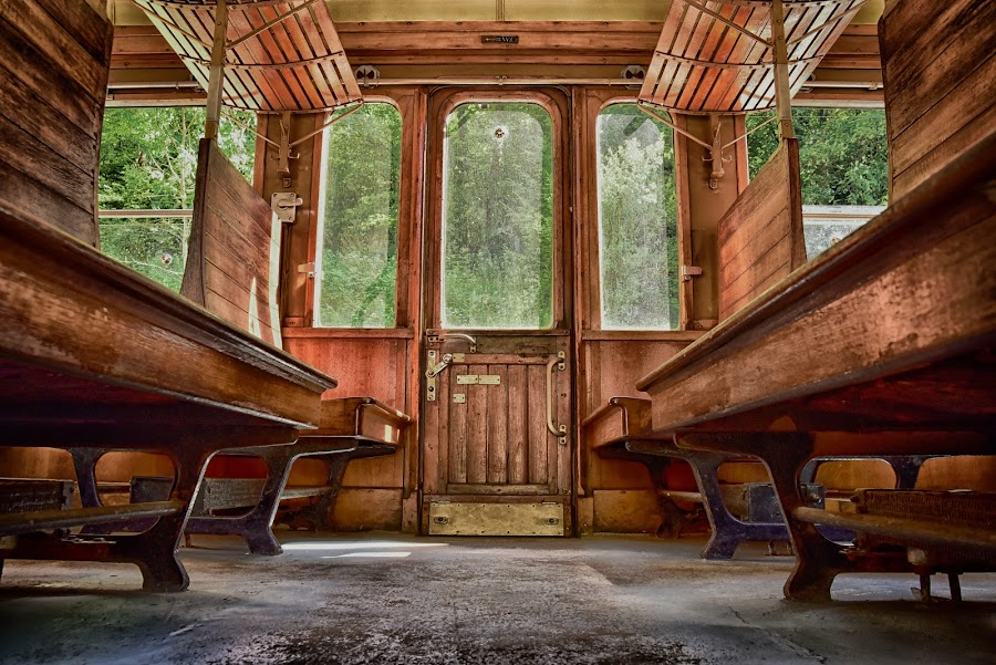 Wooden Seating-Accommodation by Marco Bertamé - Transportation Trains ( fond-de-gras, window, wood, vintage, door, seating-accomodation, train 1900, luxembourg )