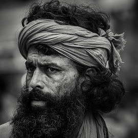 curiosity by Anitava Roy - People Portraits of Men ( face, black and white, street, black white, holy, people, portrait, photography, street photography, portraiture, portrait and people, blackandwhite, portrait photographers, peoples, india, portraits, devotional, sadhu )