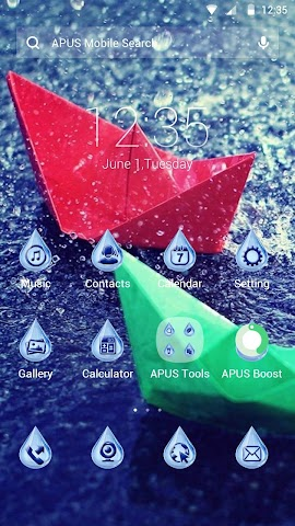 android Blue Raindrops theme for APUS Screenshot 0
