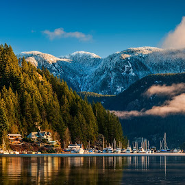 Morning Has Risen by Garry Dosa - Landscapes Mountains & Hills ( water, december, mountains, winter, snow, outdoors, boats, trees, forest, morning,  )