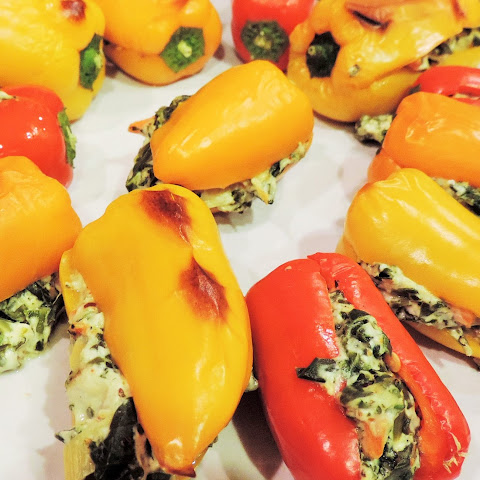 Spinach Dip Stuffed Baby Bell Peppers.