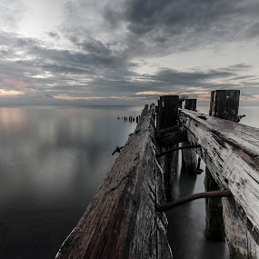 Old Pier by Sarah Hauck - Nature Up Close Water ( calm, water, reflection, sky, wood, sunrise, beach, stumps, bolts )