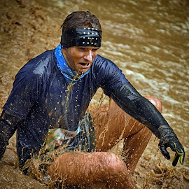 Not for Softies ! by Marco Bertamé - Sports & Fitness Other Sports ( water, splatter, splash, differdange, 2015, waterdrops, luxembourg, muddy, sitting, strong, drops, brwon soup, strongmanrun, man )