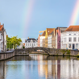 After the rain. Bruges. by Yury Loginov - City,  Street & Park  Historic Districts ( reflection, bruges, cityscape, rainbow, rain, city )