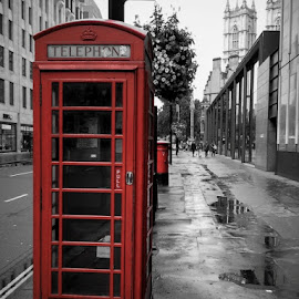 Time machine by Sunelle Schietekat - City,  Street & Park  Street Scenes ( red, london, black and white, street, telephone )