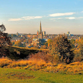 Norwich Cathedral by Bob White - City,  Street & Park  Vistas ( religion, norwich, blue sky, autumn, cathedral,  )