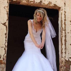 by Johan Niemand - Wedding Bride ( girl, window, woman, dress, wedding, veil, bride )