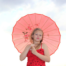 Little girl with red umbrella by Lize Hill - Babies & Children Child Portraits